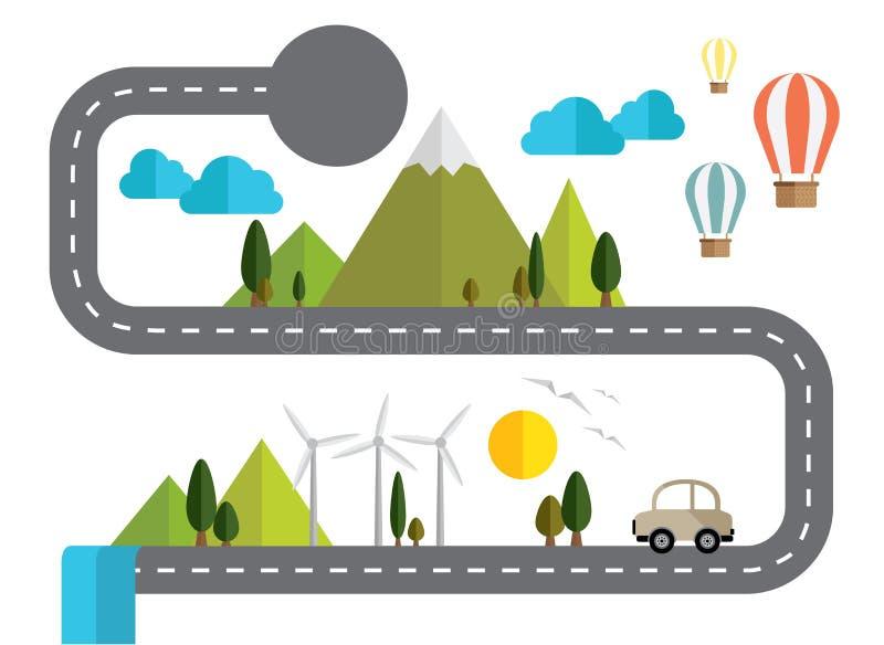 Camino de la información y naturaleza gráficos del papel Concepto sobre eco y el mundo de ahorro libre illustration