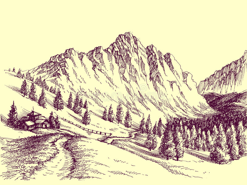 Camino de la montaña stock de ilustración