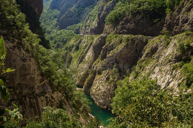 Camino de la montaña en el barranco del río Tara, Montenegro foto de archivo