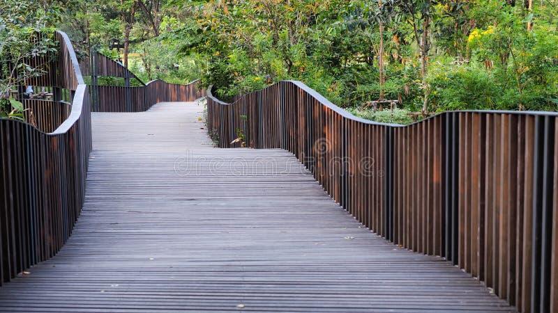 Camino de madera en el jardín imagen de archivo
