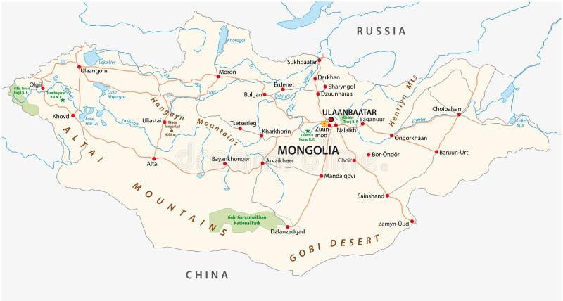 Camino de Mongolia y mapa del vector del parque nacional stock de ilustración