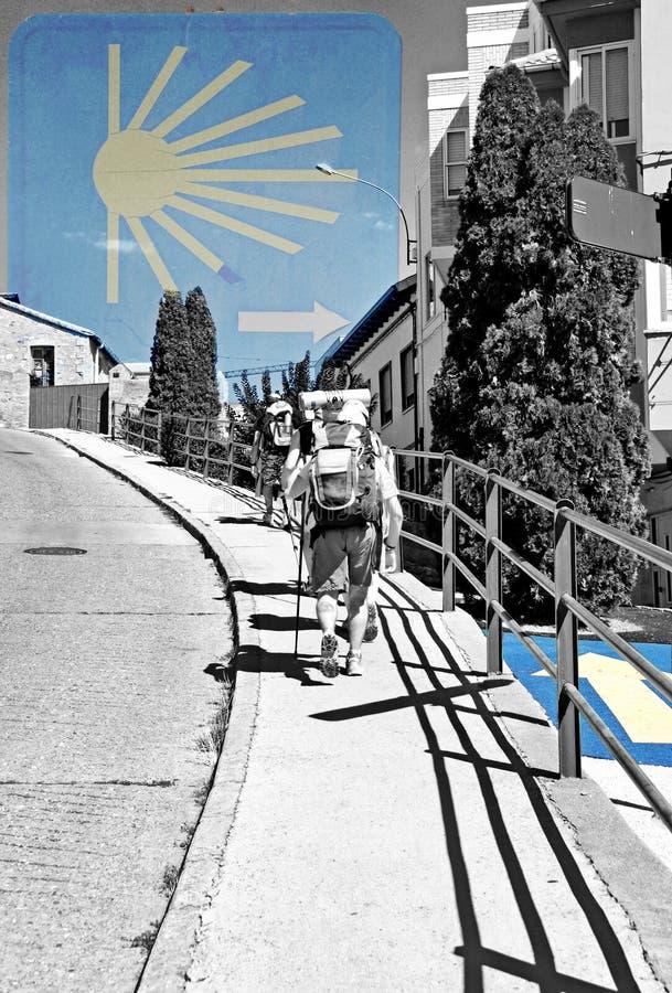 Camino de passeio de santiago dos peregrinos imagens de stock royalty free