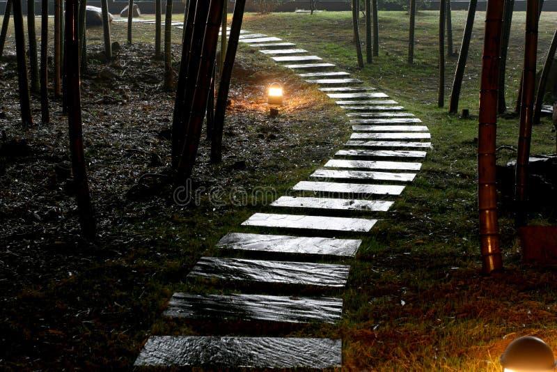 Camino de piedra en jardín imagenes de archivo