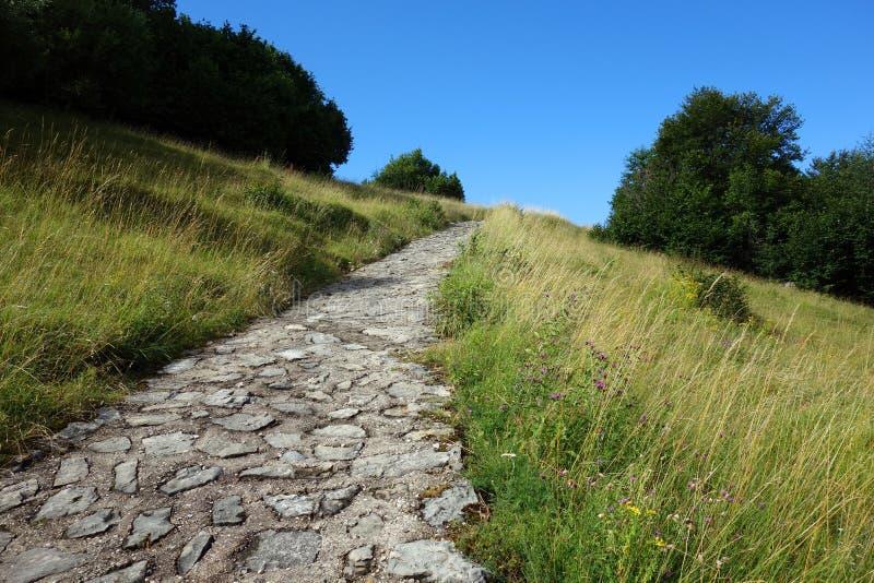 Camino de piedra en las montañas foto de archivo libre de regalías