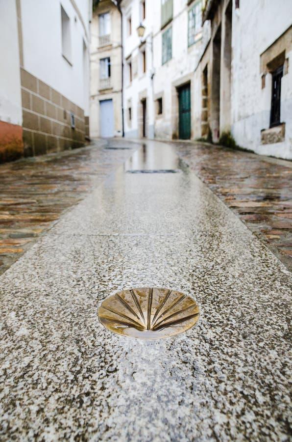 Camino DE Santiago de Compostela Gouden gele kammosselshell op een natte straatvloer Beroemdste bedevaartroute in Europa stock fotografie