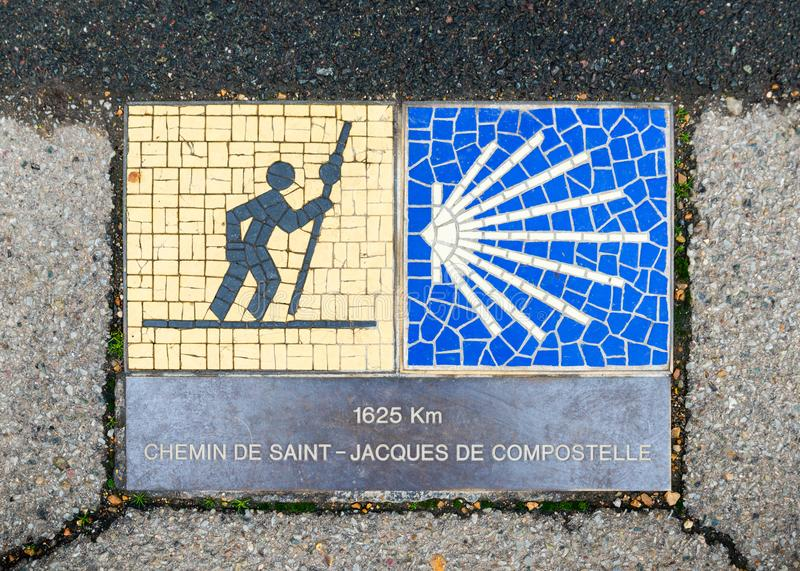 Camino de Santiago sign in Chartres, France. Camino de Santiago pilgrimage sign in Chartres, France. The sign reads: 1625 km Way of St James stock images