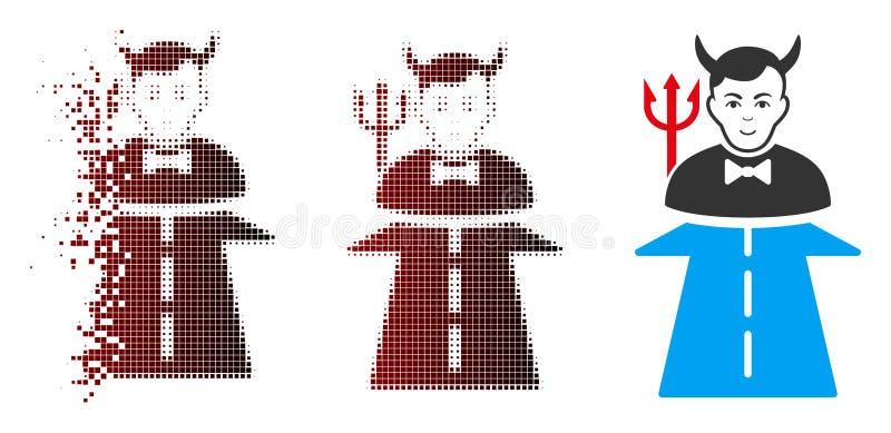 Camino de semitono punteado disperso al icono del monstruo del infierno stock de ilustración