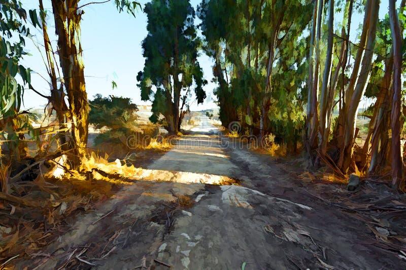 Camino de tierra del campo y cerca de madera stock de ilustración