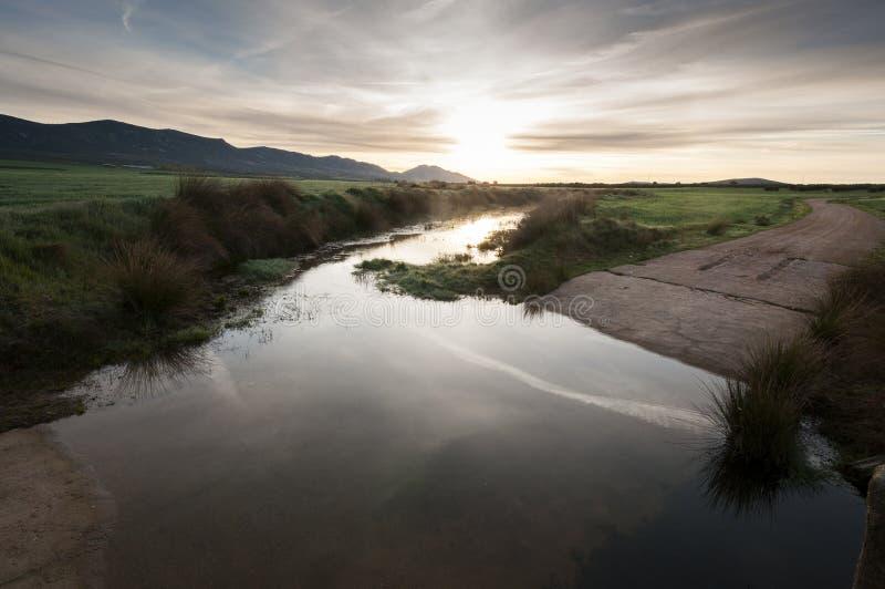 Camino de tierra inundado en un paisaje agrícola fotos de archivo libres de regalías