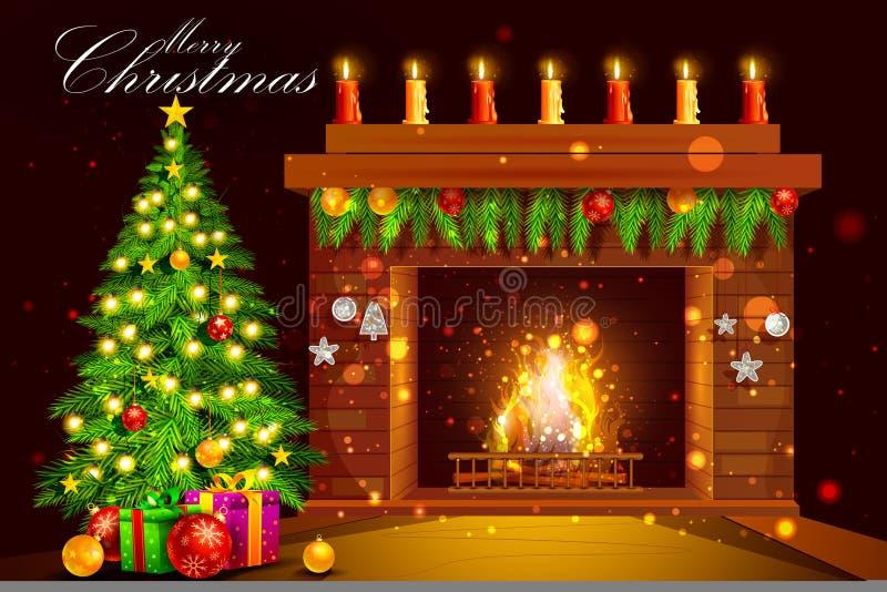 Camino decorato della Camera per la celebrazione di festa di Buon Natale illustrazione vettoriale