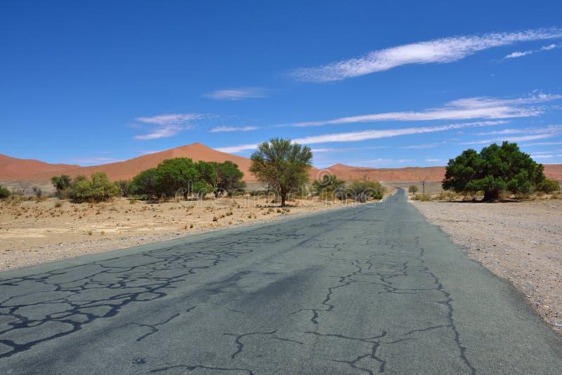 Camino del alquitrán en el desierto de Namib, Namibia, África imagen de archivo libre de regalías