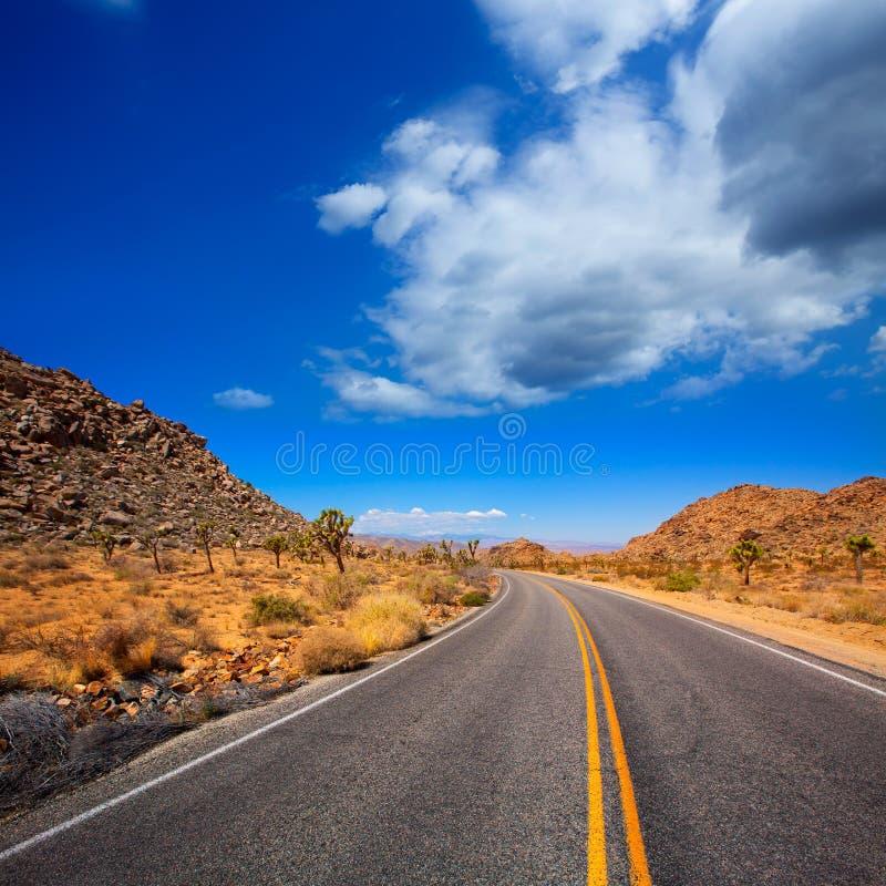 Camino del bulevar de Joshua Tree en el desierto California del valle de la yuca foto de archivo libre de regalías