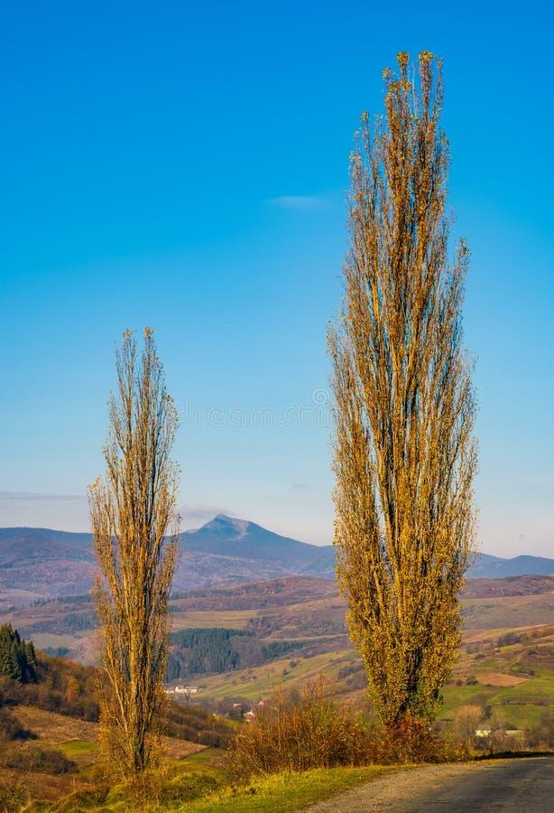 Camino del campo en área montañosa otoñal imagenes de archivo