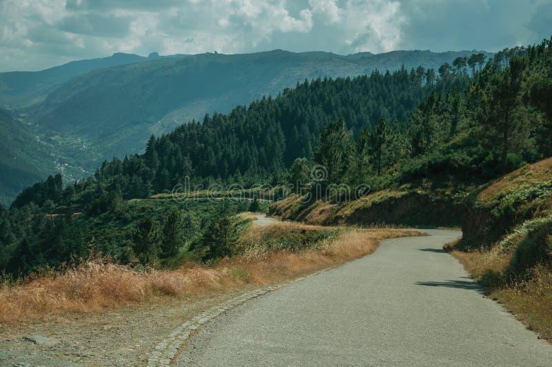 Camino del campo que pasa con paisaje monta?oso imagenes de archivo