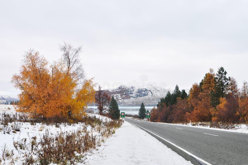 Camino del invierno. Camino de Fairlie-Tekapo, Cantorbery, Nueva Zelanda fotografía de archivo libre de regalías