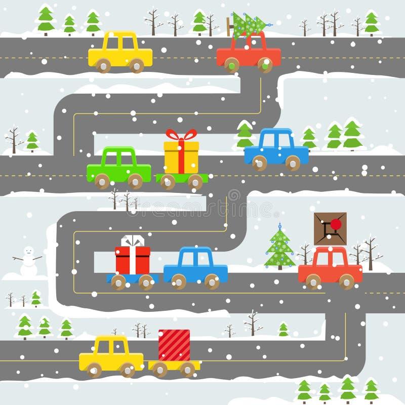 Camino del invierno con el ejemplo de los coches ilustración del vector