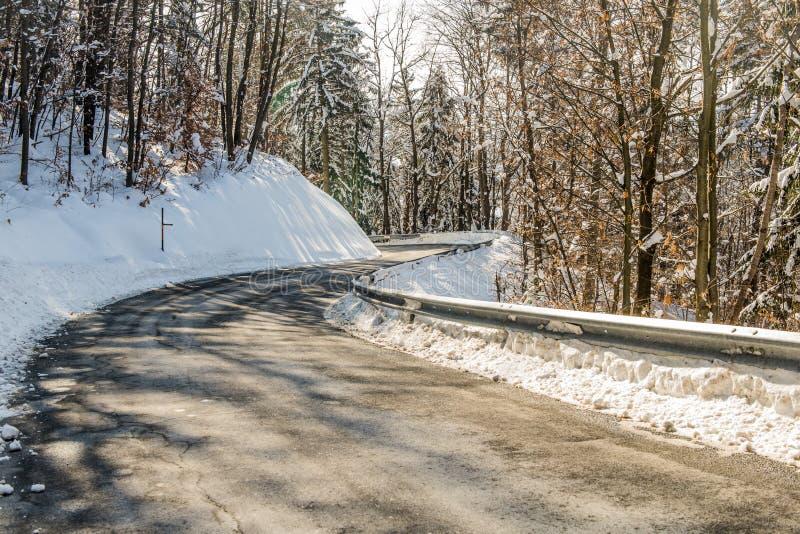 Camino del invierno a través del bosque foto de archivo