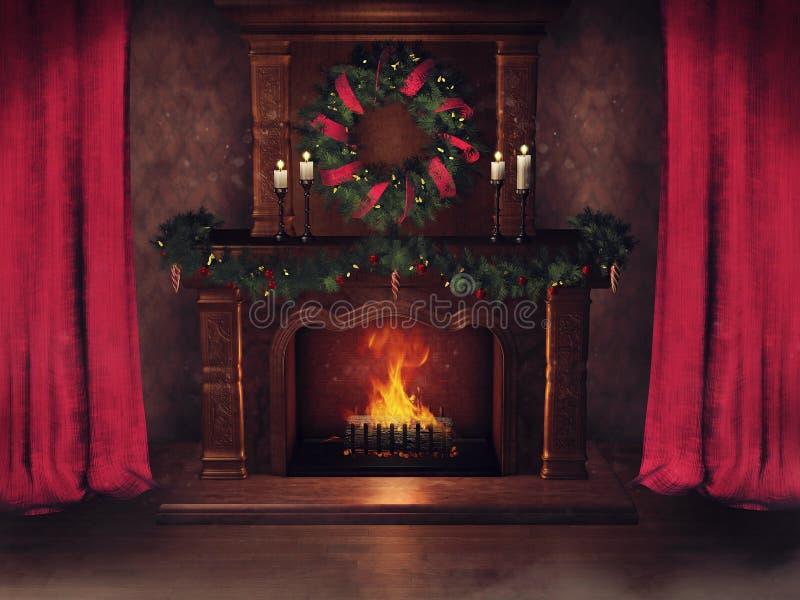 Camino di Natale e tende rosse royalty illustrazione gratis