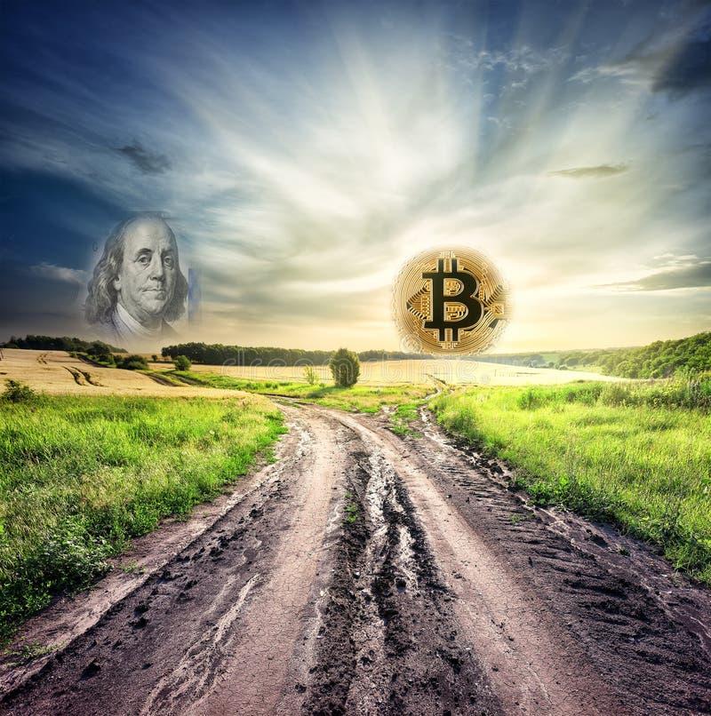 Camino divergente en el campo que lleva al bitcoin y al dólar fotografía de archivo libre de regalías