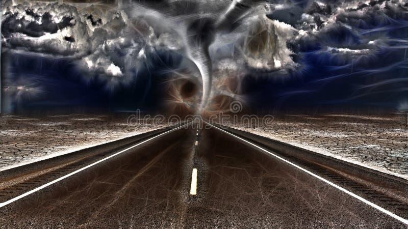 Camino en desierto con la tormenta que rabia ilustración del vector