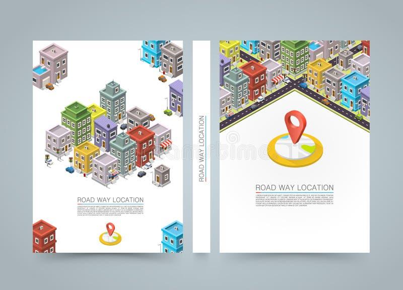 Camino en la bandera isométrica de la ciudad, libro de la ubicación, tamaño A4 libre illustration