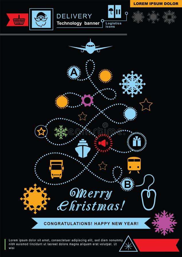 Camino en la forma del árbol de navidad Iconos de neón brillantes de la logística de la Navidad en el fondo negro Fondo de la tec libre illustration