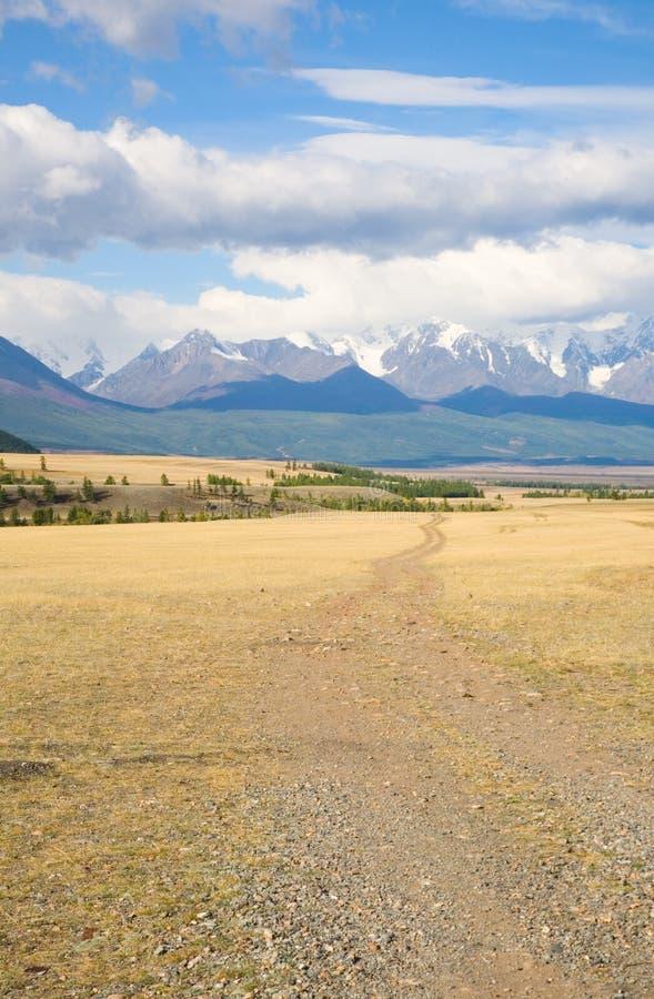 Camino en las estepas de la montaña fotografía de archivo