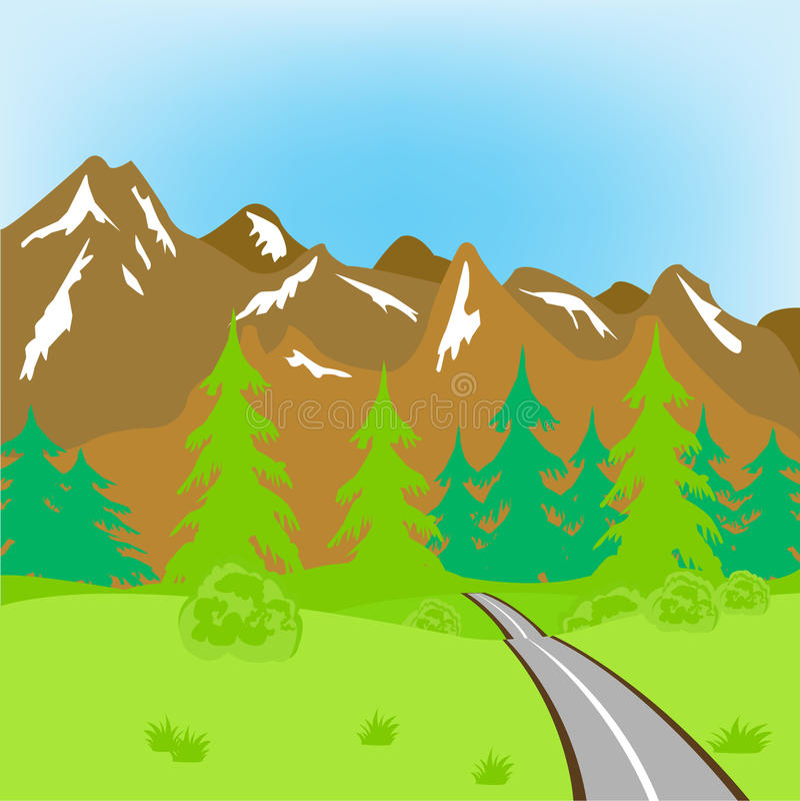 Camino en montañas stock de ilustración