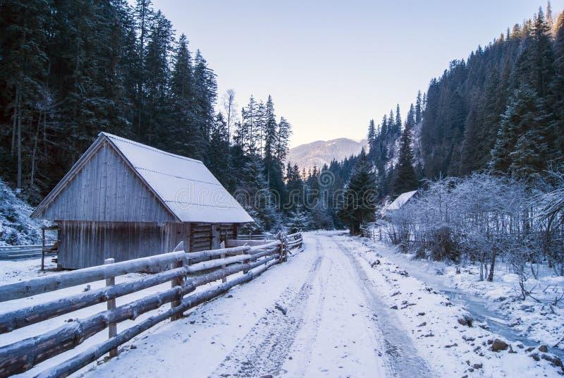 Camino en montañas cárpatas, Ucrania del invierno Casa del invierno en nieve fotografía de archivo