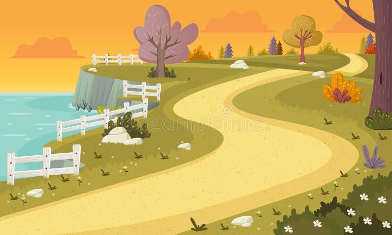 Camino en parque colorido stock de ilustración