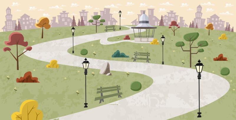 Camino en parque verde ilustración del vector