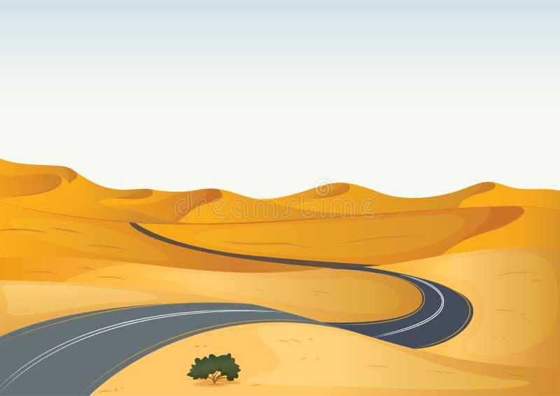 Camino en un desierto stock de ilustración