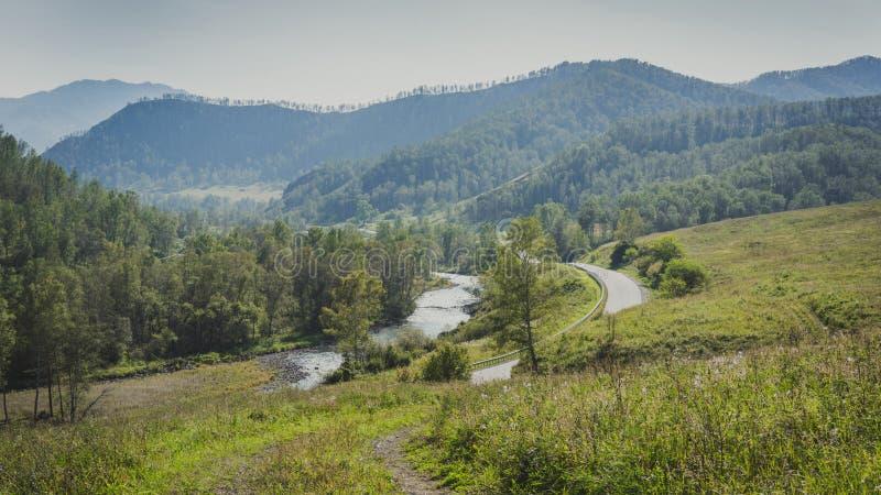 Camino en un valle de la montaña a lo largo del río y del bosque foto de archivo
