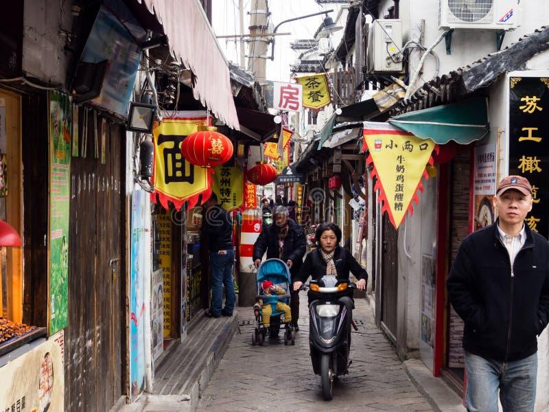 Camino histórico de Pingjiang en Suzhou, China fotografía de archivo