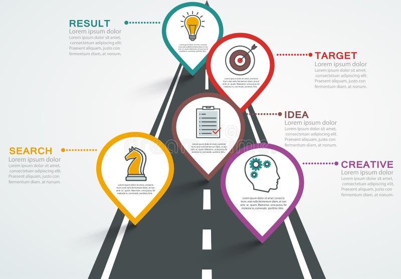 Camino infographic con los indicadores, cronología con 5 pasos ilustración del vector