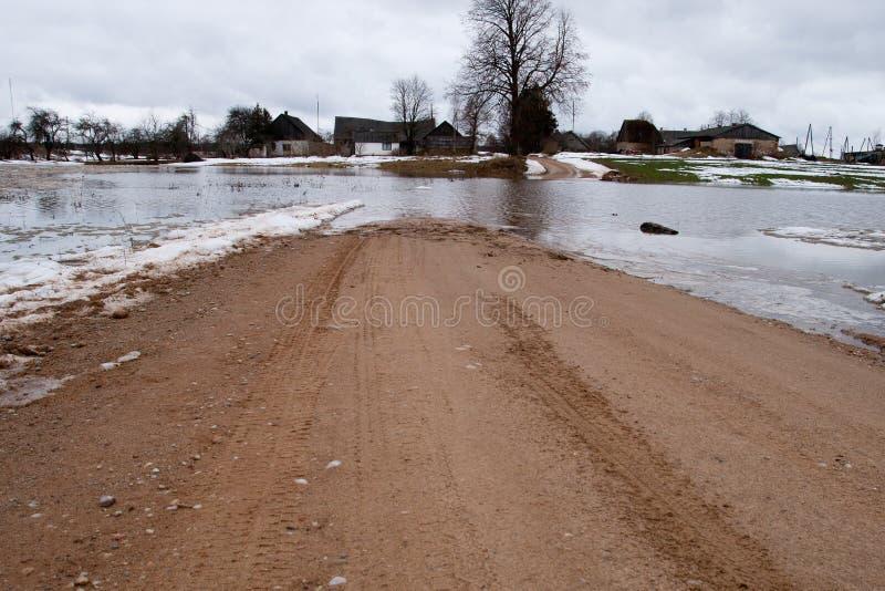 Camino inundado foto de archivo