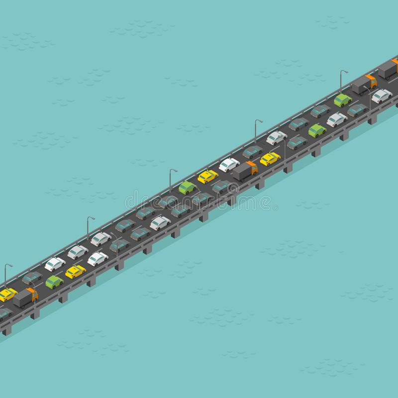 Camino isom?trico del puente Alto tr?fico Carretera elevada larga Puente sobre el r?o Ilustraci?n del vector libre illustration