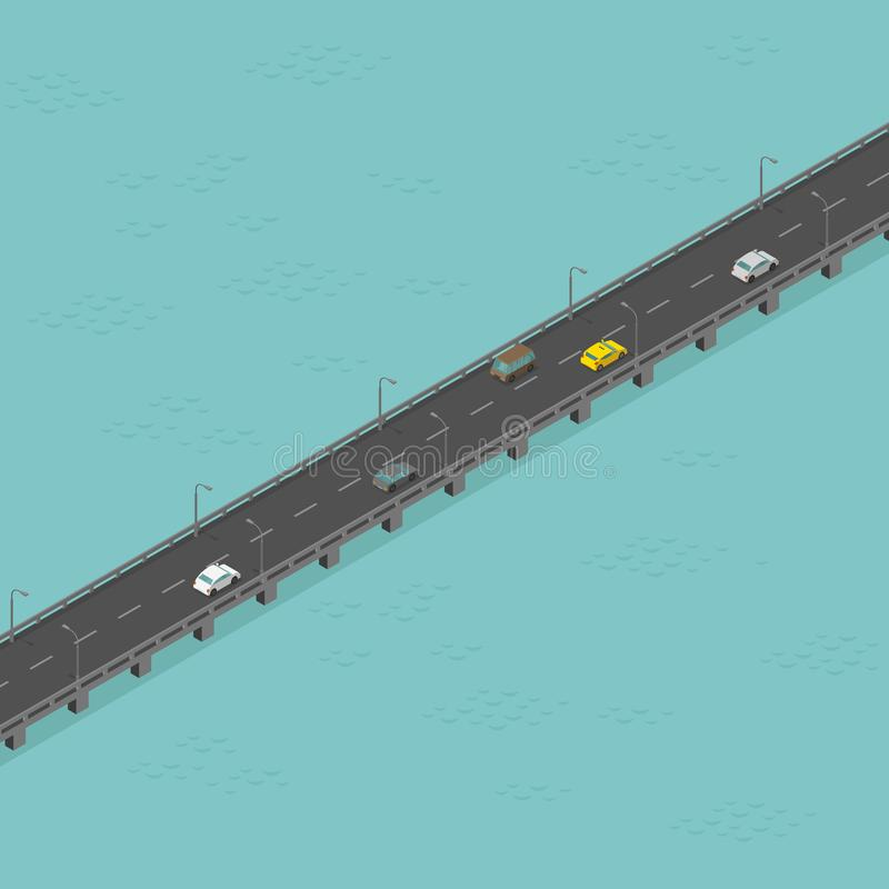 Camino isom?trico del puente Con poco tr?fico Carretera elevada larga Puente sobre el r?o Ilustraci?n del vector libre illustration