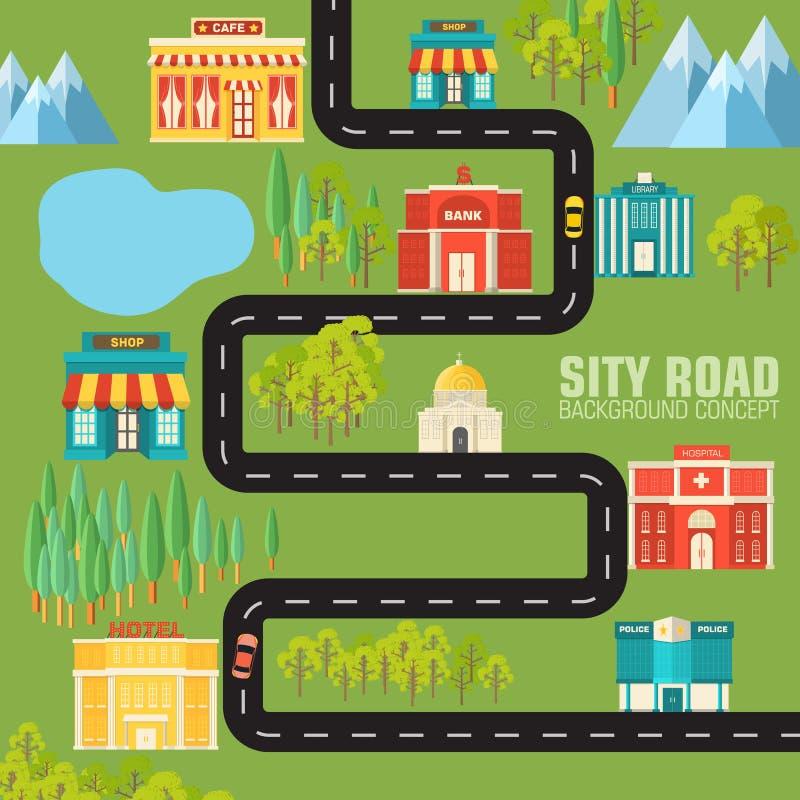 Camino a la ciudad en concepto plano del fondo del estilo ilustración del vector