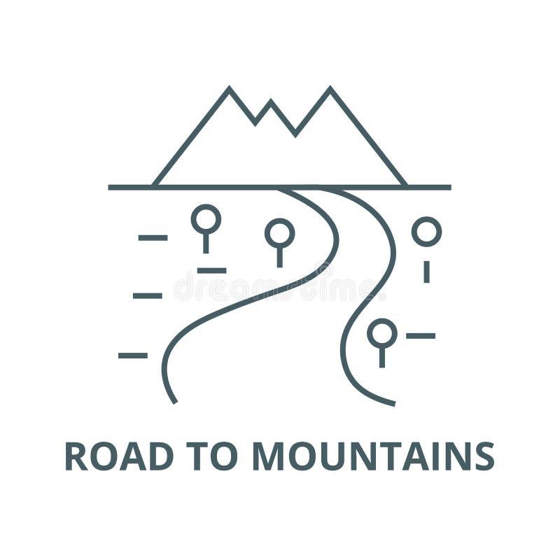 Camino a la línea icono, concepto linear, muestra del esquema, símbolo del vector de las montañas stock de ilustración