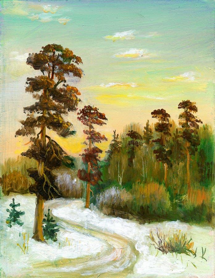 Camino a la madera del invierno stock de ilustración