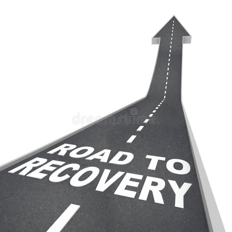 Camino a las palabras de la recuperación en el pavimento - encima de la flecha ilustración del vector