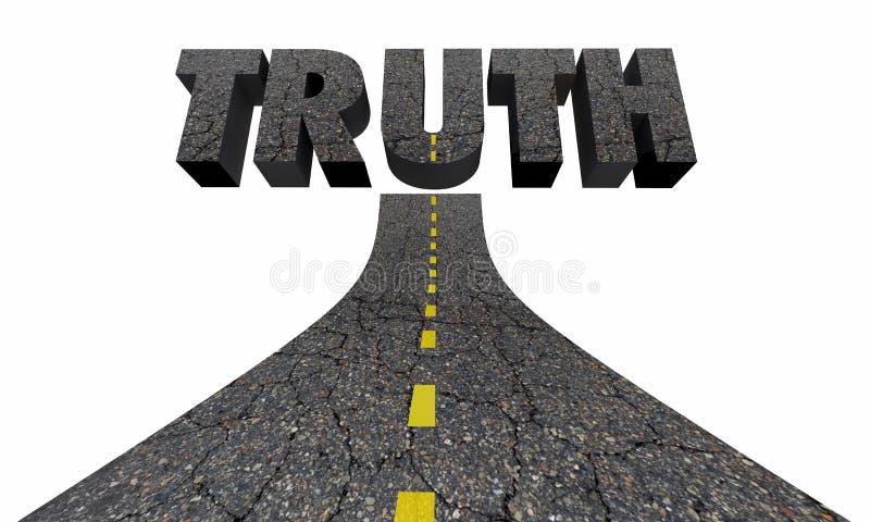 Camino a los hechos reales de las respuestas del hallazgo de la palabra de la verdad stock de ilustración