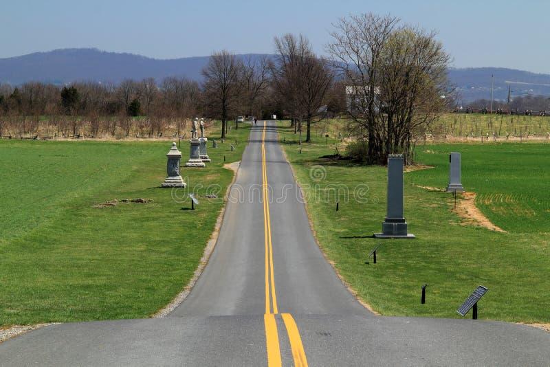 Camino nacional del parque del campo de batalla de Antietam fotografía de archivo