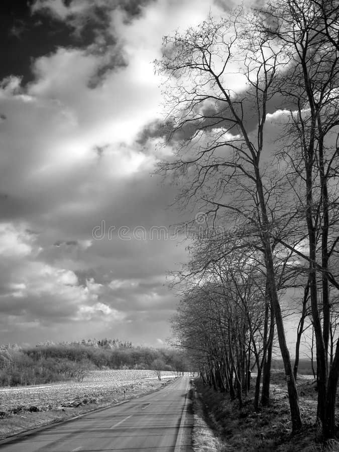 Camino nublado del invierno foto de archivo