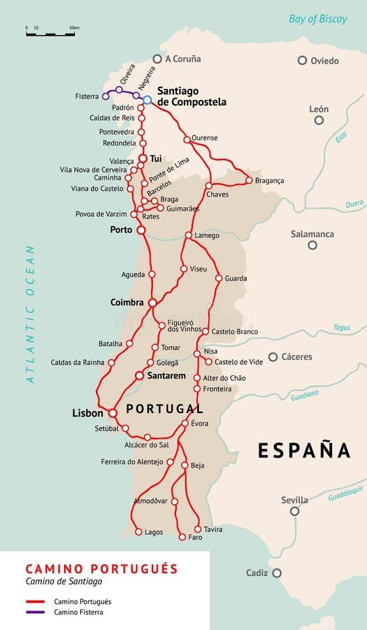 Camino Portugués Map Camino De Santiago Portugal Stock Vector - Portugal map tomar