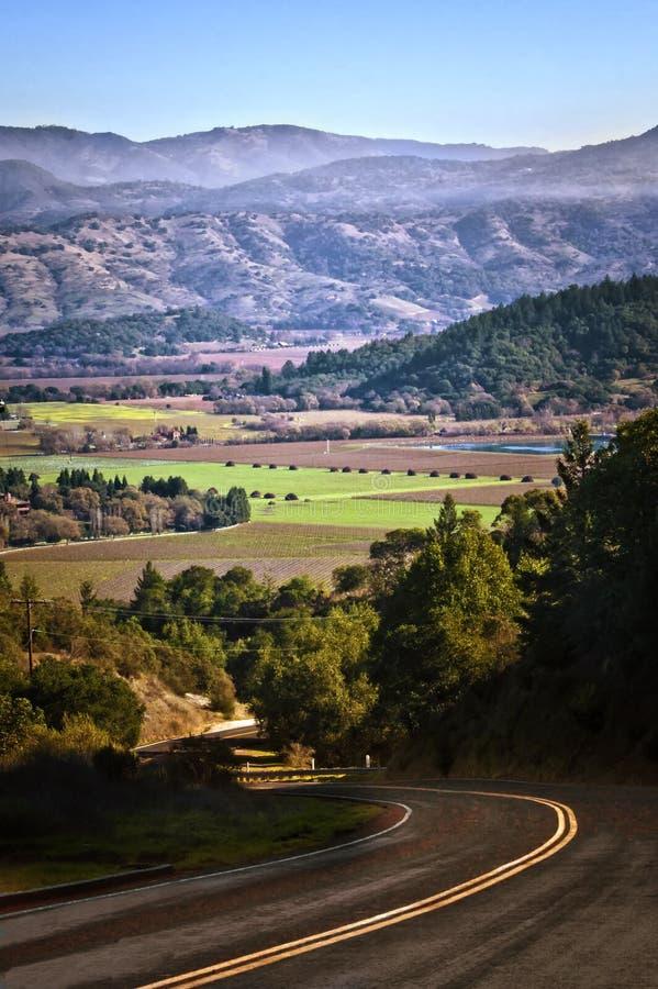 Camino posterior en Napa Valley, California fotos de archivo