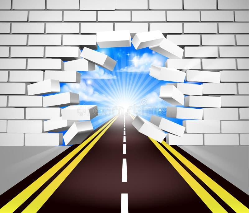 Camino que rompe concepto de la pared stock de ilustración