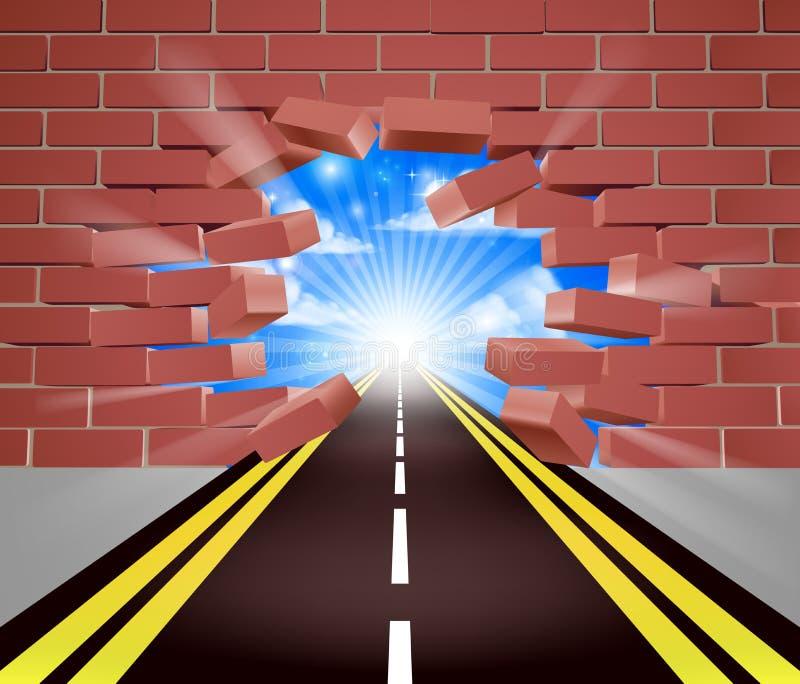 Camino que se rompe a través de la pared ilustración del vector