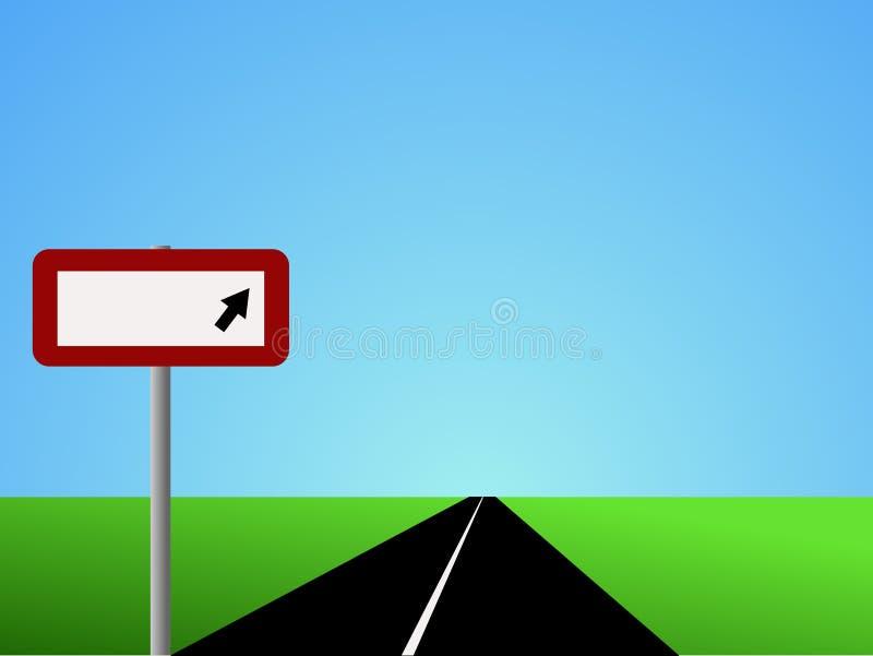 Camino recto con la muestra en blanco stock de ilustración